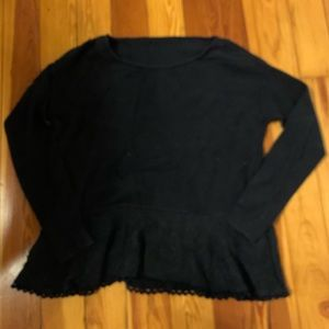 Anthropologie Navy sweater with lace